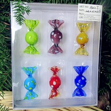 Vintage Art Glass 6 Candies Handmade Blown Sweets Sculpture Collector Home Decor