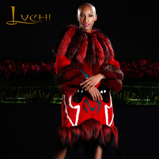 LVCHI 2019 Best-selling TOP Fashion Echte Nerts Jassen Echt Leer Mandarijn Kraag Echt Bont Vest Vrouwen Jonge Vrouwen's Uitloper