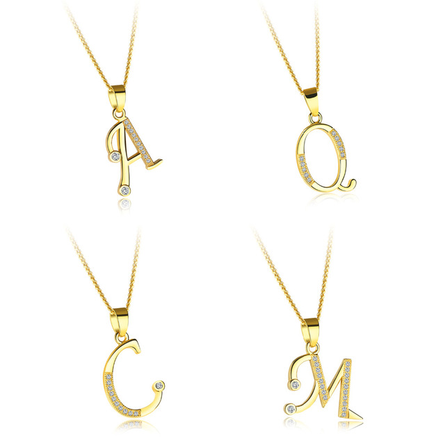 Fashion gold alphabet necklace for women a z letter pendant necklace fashion gold alphabet necklace for women a z letter pendant necklace initial name pendant pave zirconia female mozeypictures Gallery