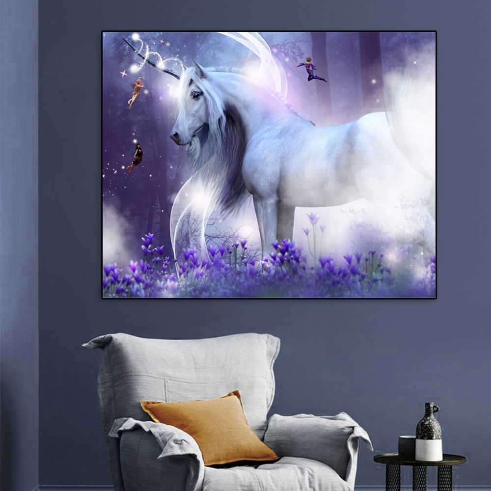 Laeacco Unicorn Painting Calligraphy Cartoon Horse Posters and Prints Canvas Animal Wall Artwork Pictures Living Room Home Decor