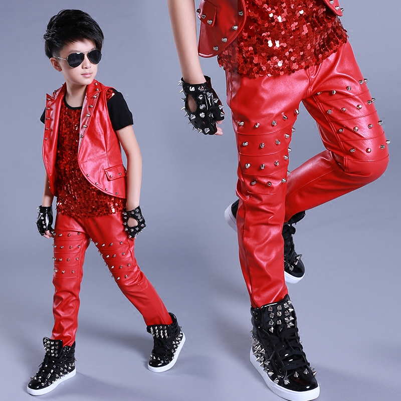 Jazz Dance Costumes Studded Leather Pants Street Dancing Modern Boys Clothes Kid Hip Hop Clothing Stage Show Dancewear DNV11055