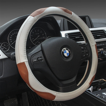KKYSYELVA  New Leather Car Steering Wheel Cover Red 38cm Diameter Universal Size Car inner accessories Auto wheel covers