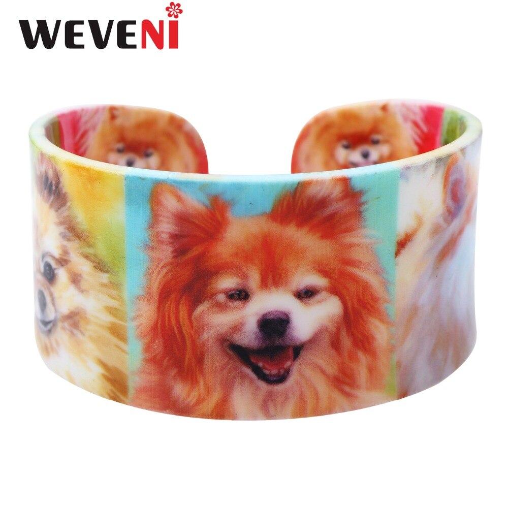 WEVENI Acrylic Design Love Wide Pomeranian Dog Bangles Bracelet Jewelry For Women 2017 New Animal Bangle Jewelry Gift For Girls