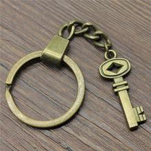 Vintage Key Ring Metal Chain Keychain Jewelry Gift Antique Bronze Plated Retro 32x12mm Pendant