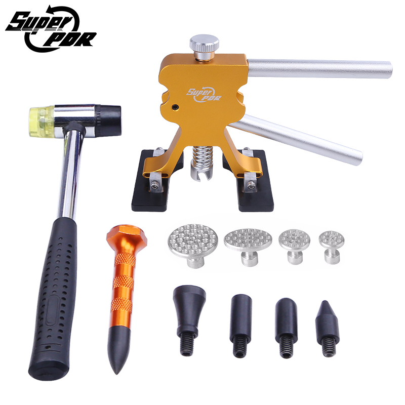 Super PDR Paintless dent removal tools gold color dent puller metal tabs tap down pen rubber hammer hand tools kit
