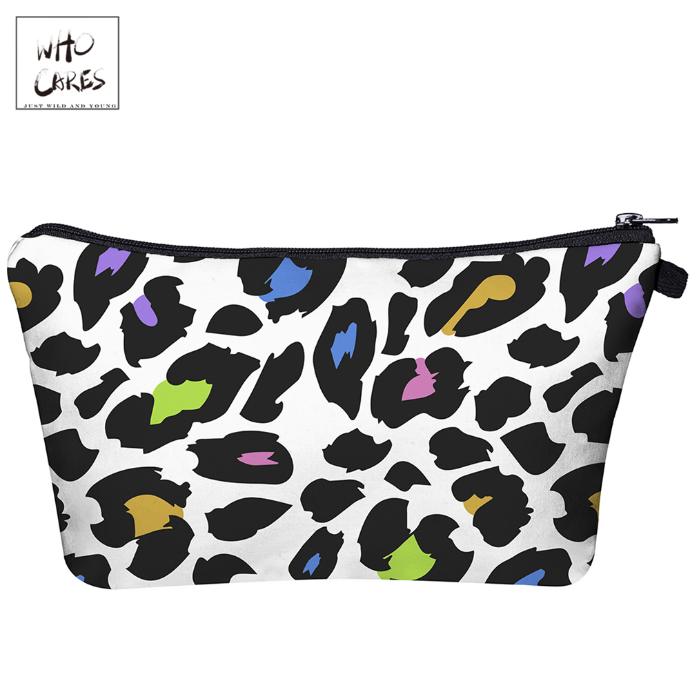 Who Cares White Background Leopard 3D Printing Makeup Bags With Zipper Ladies Pouch Women Cosmetic Bag