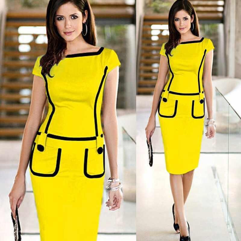 abba93bb5e5e5 Oxiuly Elegant Blue Purple Yellow Short Sleeve Pencil Dress Fashion Lady  Wear to Work Knee Length Business Party Sheath Dress