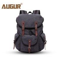 AUGUR Travel Men S Backpack Bag With Leather Belt Male Backpacks Canvas Black School Bags For