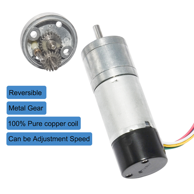 25GA370 DC 12V 24V Gear Motor With Dual Channel Encoder 10/15/25/35/60/80/130/150/300/600rpm Speed Electric Motor For DIY Hobby