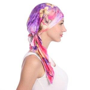 Image 5 - Мусульманские женщины хлопок Мягкий тюрбан с принтом шляпа раковая шапочка при химиотерапии капот шапки предварительно связанный шарф головной убор аксессуары для волос