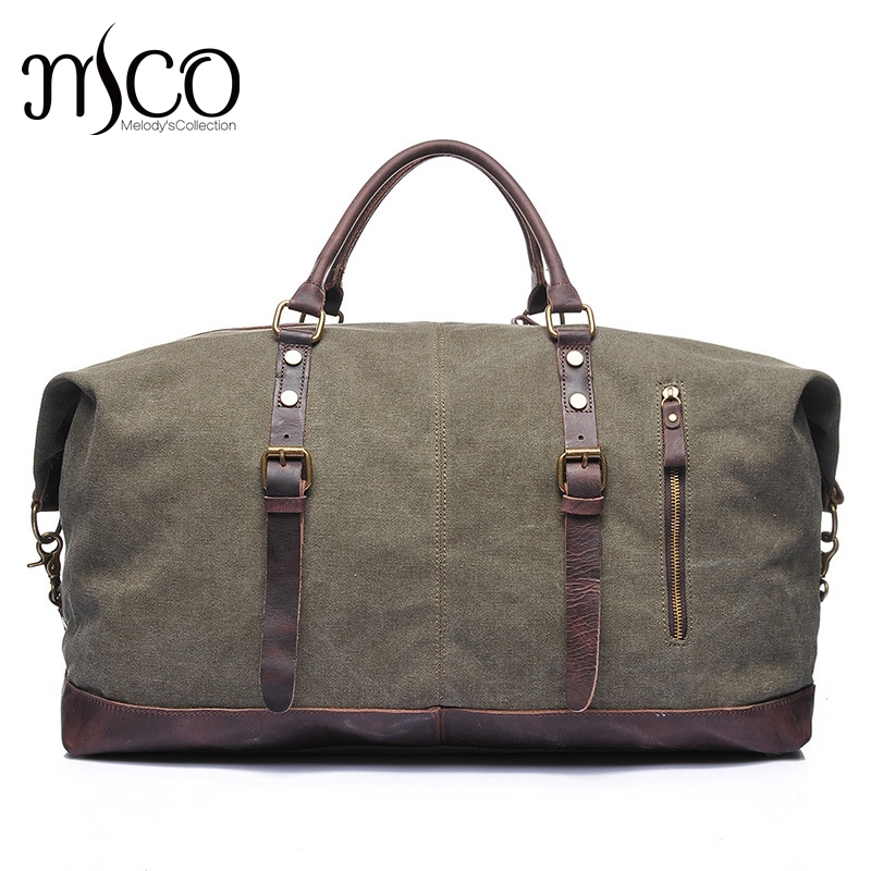 Melodycollection Canvas Leather Men Travel Bags Carry on Luggage Bags Men Duffel Tote Large Capacity Weekend Bag Overnight japanese pouch small hand carry green canvas heat preservation lunch box bag for men and women shopping mama bag