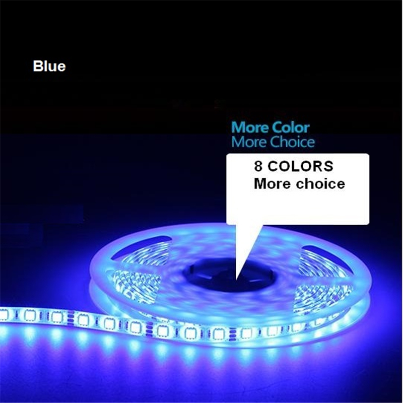 5m/roll Free shipping LED strip SMD 5050 LED softstrip 12V DC Blue color IP65 Waterproof