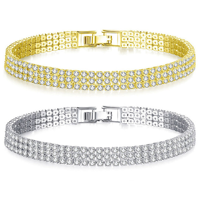 Liuyuwei Moda Cubic Zirconia Tennis Bracelet & Bangle Oro Argento di Colore del Braccialetto di Fascino Per Le Donne Da Sposa di Cerimonia Nuziale Dei Monili Del Partito 3
