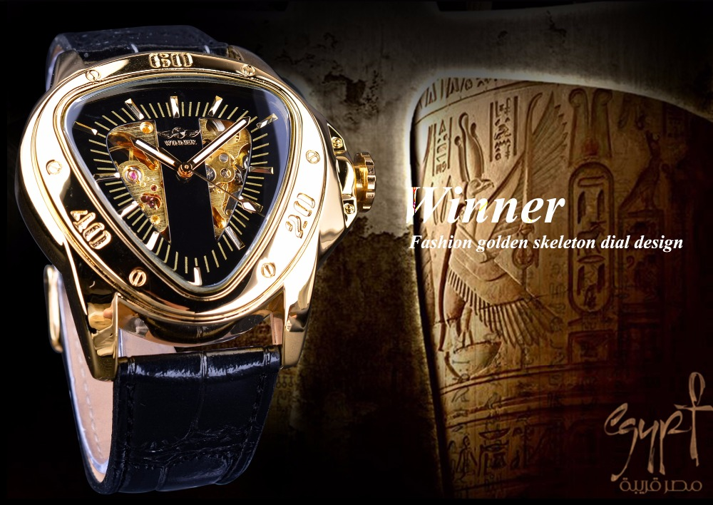 HTB1V4Nph nI8KJjSszgq6A8ApXaU Winner Steampunk Fashion Triangle Golden Skeleton Movement Mysterious Men Automatic Mechanical Wrist Watches Top Brand Luxury