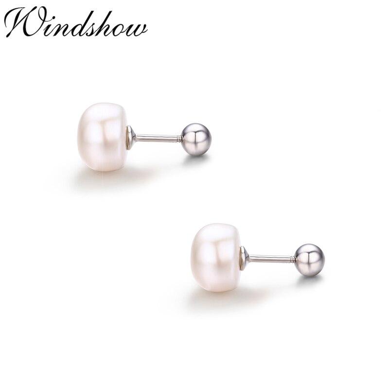 925 Sterling Silver Bread-type White Pearl Screw Back Stud Earrings For Women Girls Kids Piercing Jewelry Orecchini Aros Aretes earrings