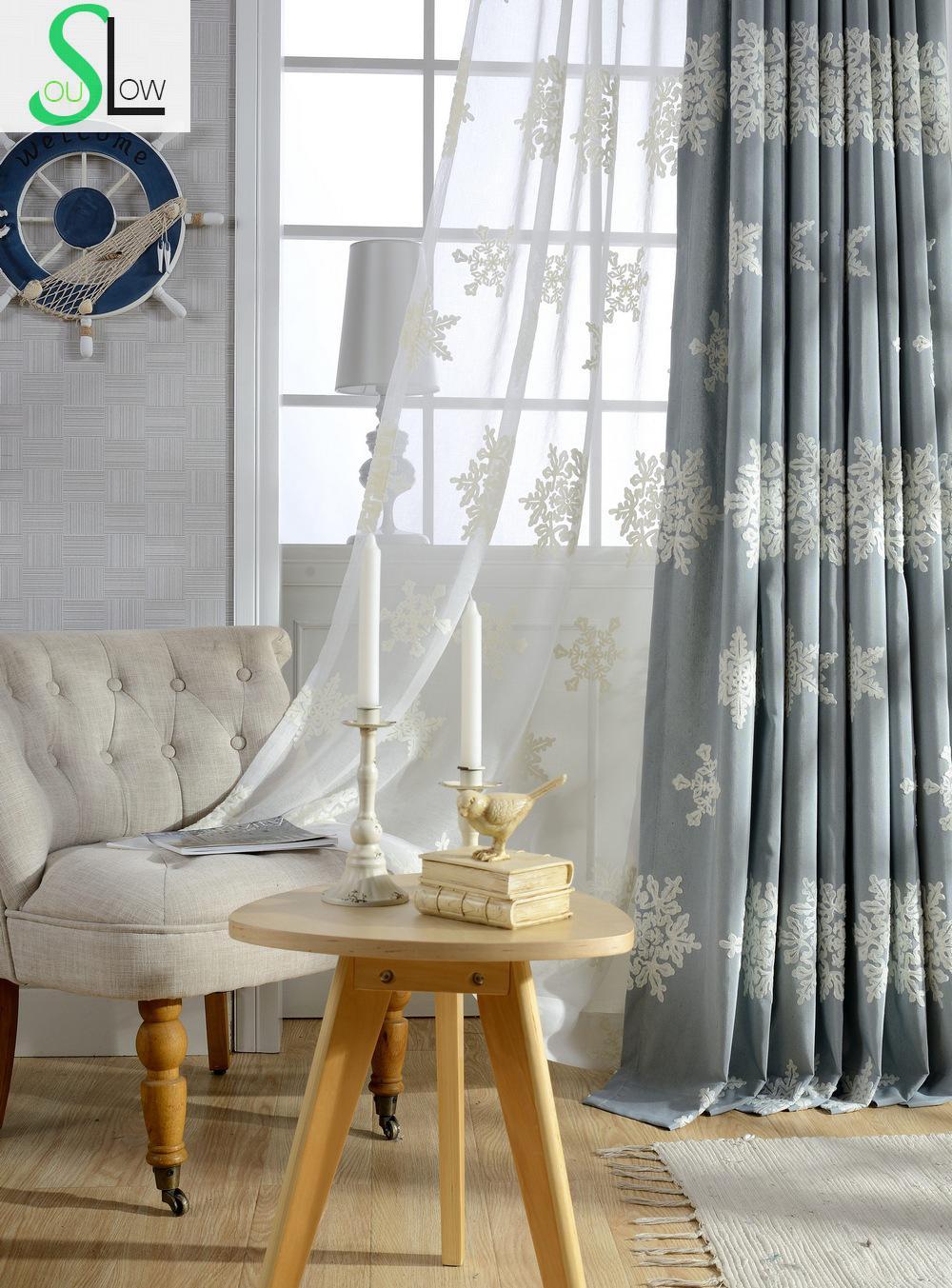 Sonbahar Kış Edelweiss Işlemeli Perdeler Yatak Odası Için Avrupa Ve Amerikan Tarzı Kar Tanesi Kaliteli Perde Cortinas Rideaux