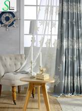 Autumn Winter Edelweiss Embroidered Curtains For Bedroom European And American Style Snowflake Quality Curtain Cortinas Rideaux(China)