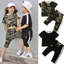 CA Toddler Kid Baby Boy Girl Short Sleeve Camouflage Tops+Long Pants Outfits for 1 2 3 4 5 6 years and Black Set