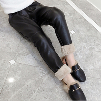 2018 Girls autumn and winter air and fur thickening PU Leather pants children's leggings wind proof warm pants cotton pants