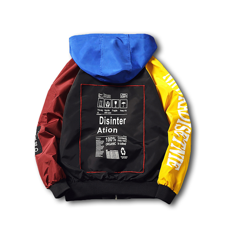Mixed Color Blocked Spring Jacket With Hood Coontrast Hip Hop Mens Streetwear Mens Windbreaker Jackets Raglan Sleeve Plus 5xl