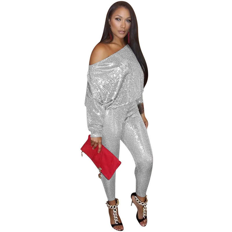 Sexy Silver Sequin Two Piece Sets Women Glitter Crop Top And Skinny Pants 2 Piece Sets Club Party Sparkly Matching Sets Outfits