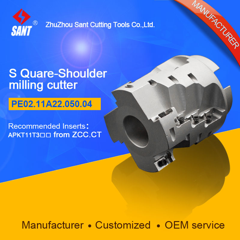 Indexable milling cutter with 90degree PE02.11A22.050.04/EMP03 050 A22 AP11 04 Matched carbide insert APKT11T3 at SANT company|carbide indexable insert|carbide insert cutters|indexable insert - title=