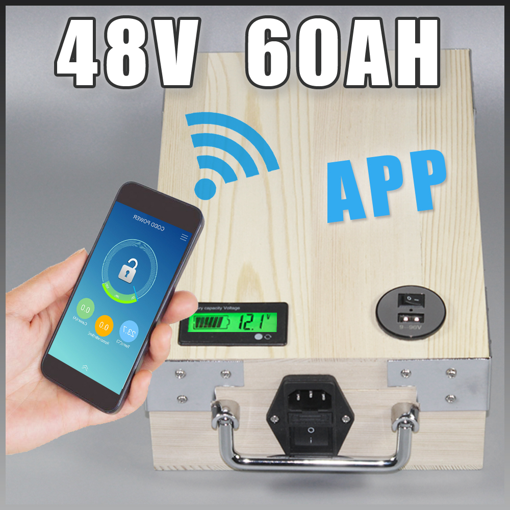 app 48V 60Ah Electric Bicycle Lithium Battery + BMS ,Charger Bluetooth GPS control 5V USB Port Pack scooter electric bike free customs taxes high quality skyy 48 volt li ion battery pack with charger and bms for 48v 15ah lithium battery pack