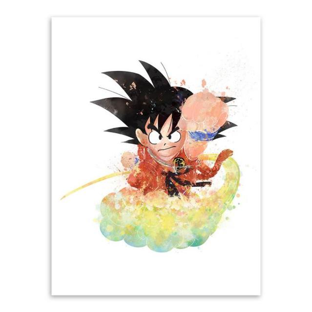 Dragon Ball Son Goku Black And White Cartoon Poster Wall Animation Painting Canvas Children Bedroom Home Decoration