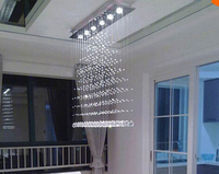 Modern 3/5/6 Heads LED Crystal Hanging Square Ceiling Lights Fixture Rain Drop Curtain Chandelier Ceiling Lamp Lustres De Teto