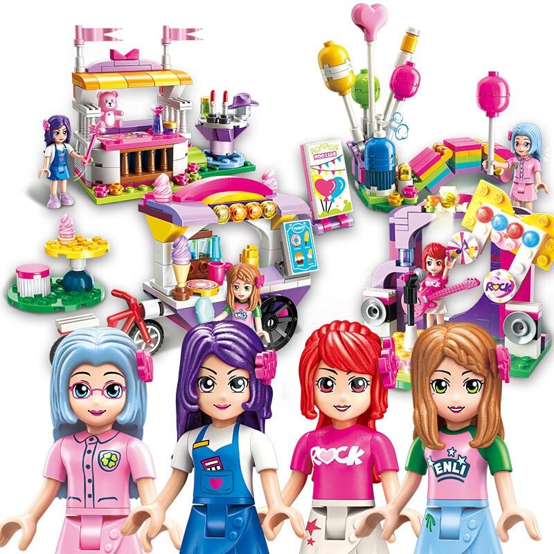 啓発 4 ピース/ロット友人市女の子アイスクリーム車ストールステージビルディングブロックレンガのための教育玩具女の子  グループ上の おもちゃ & ホビー からの ブロック の中 1