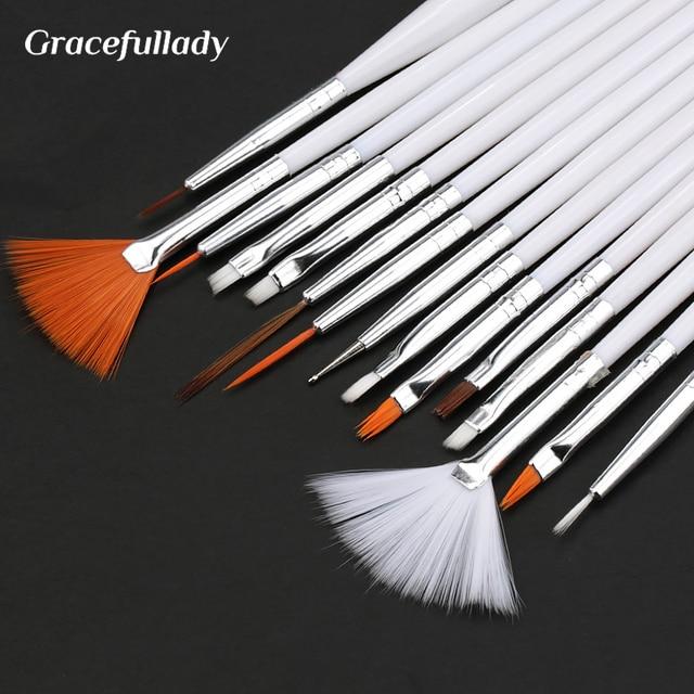 7/15Pcs Plastic Handle Nail Brush Set Design Gel Polish Painting Drawing Acrylic Gel Nail Brushes For Nails Art Manicure Tools 2