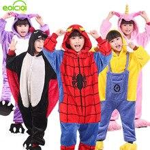 Купить с кэшбэком EOICIOI Kids Pajamas Flannel Animal Pegasus Stitch Unicorn Cosplay Pyjamas For Boys Girls Winter Warm Children Sleepwear Onesies