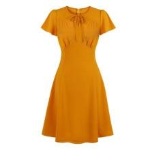 Vintage Dresses 50s 60s 40s 4xl Flare Sleeves Slit V Tie Neck Ruched Detail A Line Vintage Dress Yellow Mustard Elegant