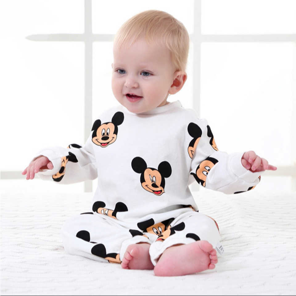 Brand Mickey Baby Rompers Newborn Baby Clothes Cartoon Long Sleeve Baby Girls Clothing Spring Baby Boy Jumpsuits Roupas