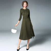 Dress 2017 New Hot Arrival Autumn A Line Dress Amry Green Color Long Sleeve Fashion Patchwork