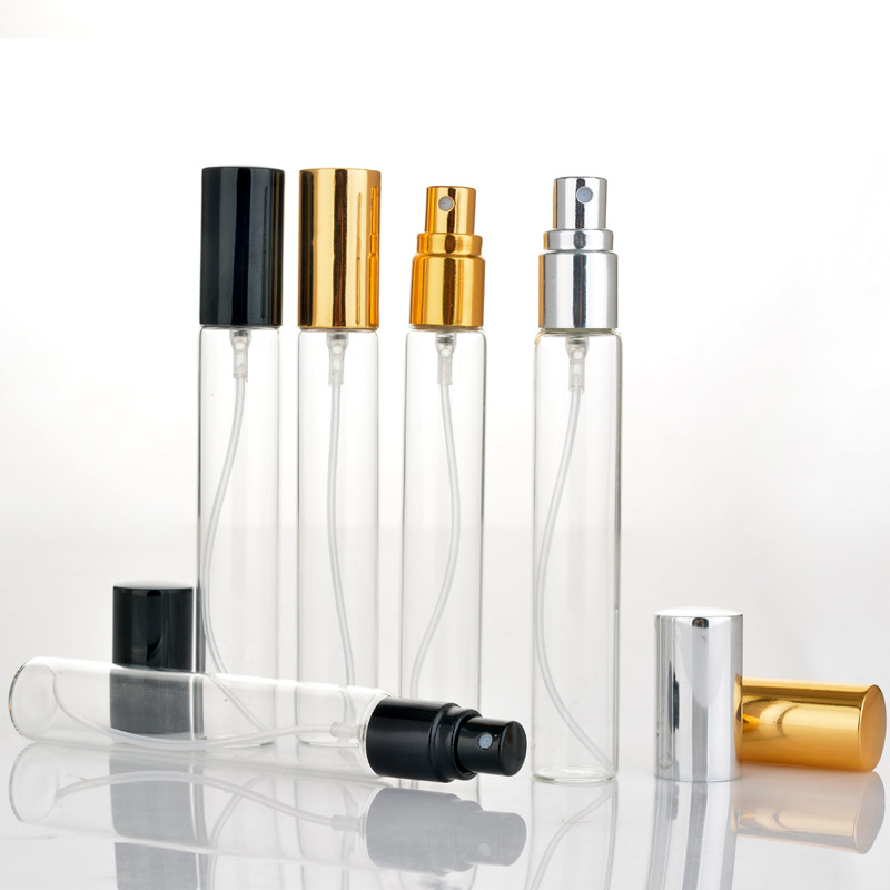 10ps 5ml 10ml 15ml Clear Mini Sample Refillable Perfume Spray Glass Atomizer Bottle With Black Golden Silver Lid