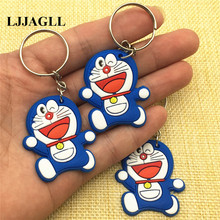 Japan Anime Figure Doraemon Key Chain 10pcs kawaii Cat PVC Cartoon Ring Kids Loves Toy Pendant Holder Gift Trinket ACT011