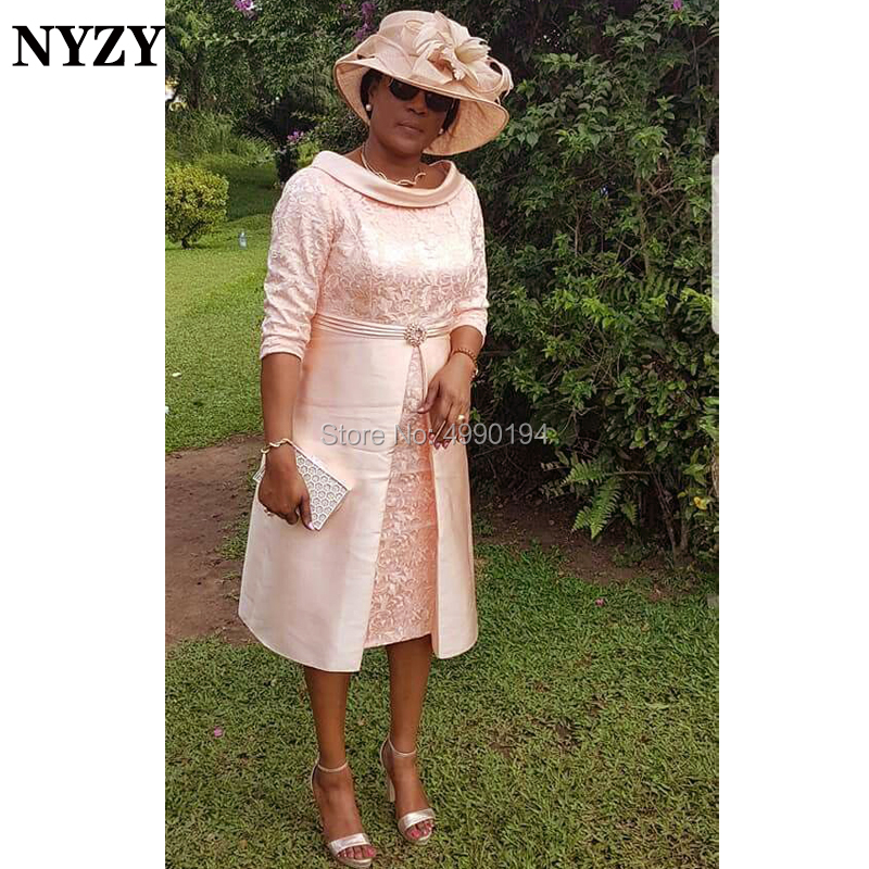 NYZY M166 Bowl Neck Vintage Formal Dress For Wedding Party Tea Length Mother Of The Bride Groom Lace Dresses 2019
