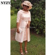 NYZY M166 vestido Formal Vintage con cuello en forma de cuenco para fiesta de boda té largo Madre de la novia novio vestidos de encaje 2019