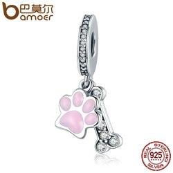 BAMOER Fashion New 925 Sterling Silver Animal Dog Footprint & Dog Bone Pendant Charm fit Women Bracelet DIY Jewelry SCC452