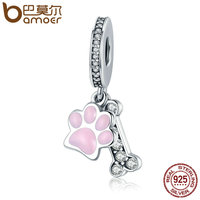 BAMOER Fashion New 925 Sterling Silver Animal Dog Footprint Dog Bone Pendant Charm Fit Women Bracelet