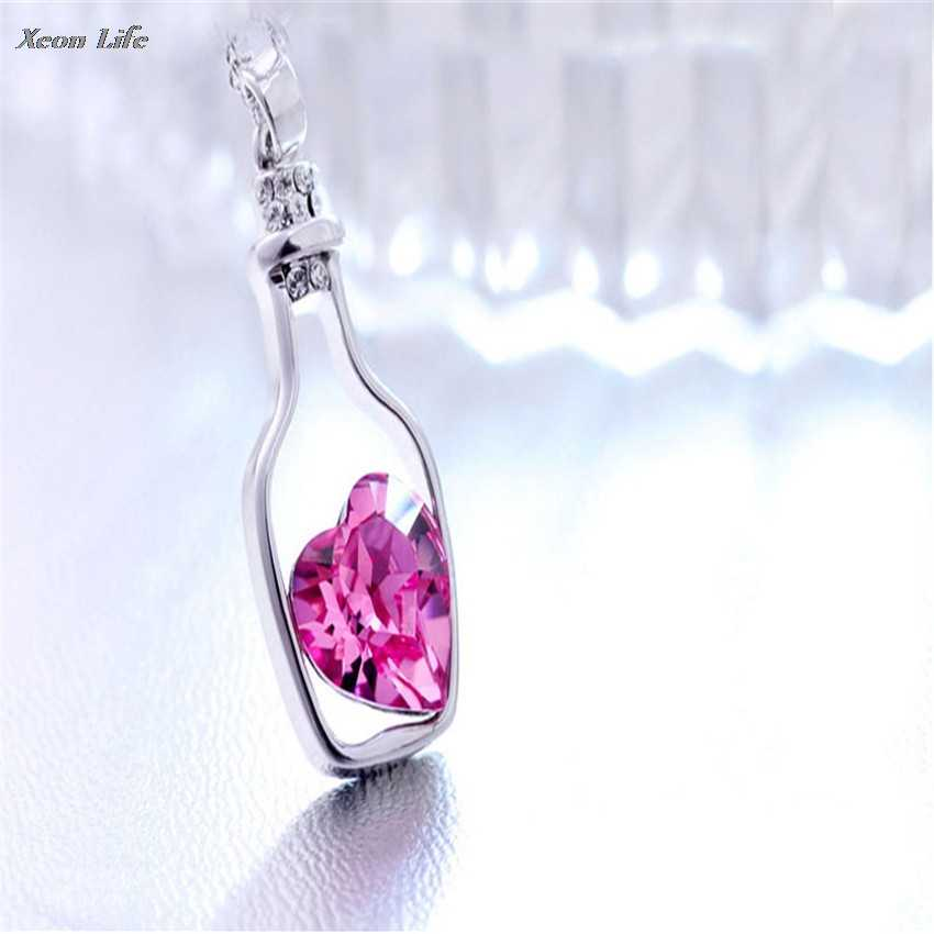 ZMHEGW 1PC  3CM*1.5CM New Women Ladies Fashion Popular Crystal Necklace Love Drift Bottles