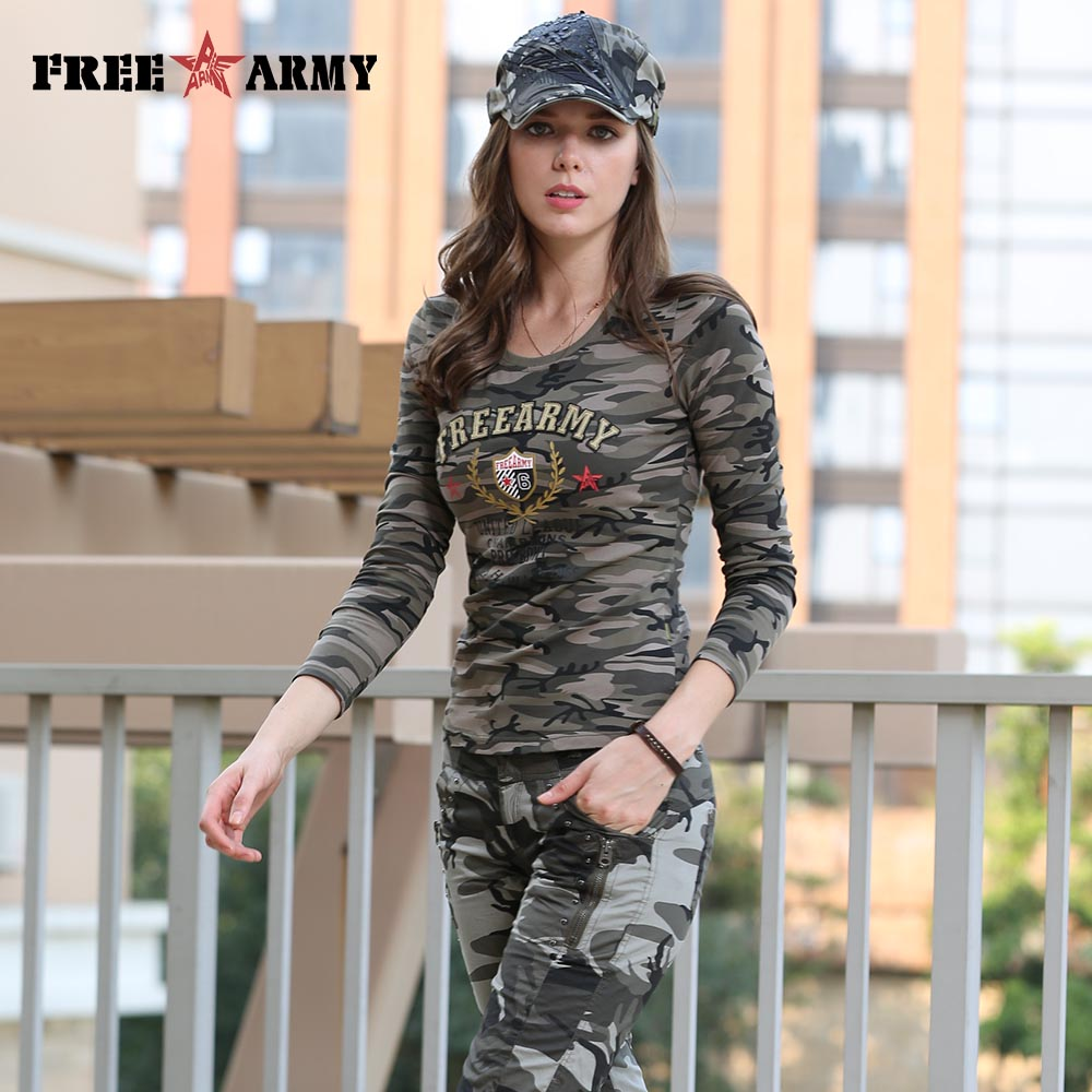 Brand T Shirt Long Sleeve Women Cotton Printing T Shirts Women Tops Tees Military Slim Spandex Casual Camo Shirt Gs-8359B