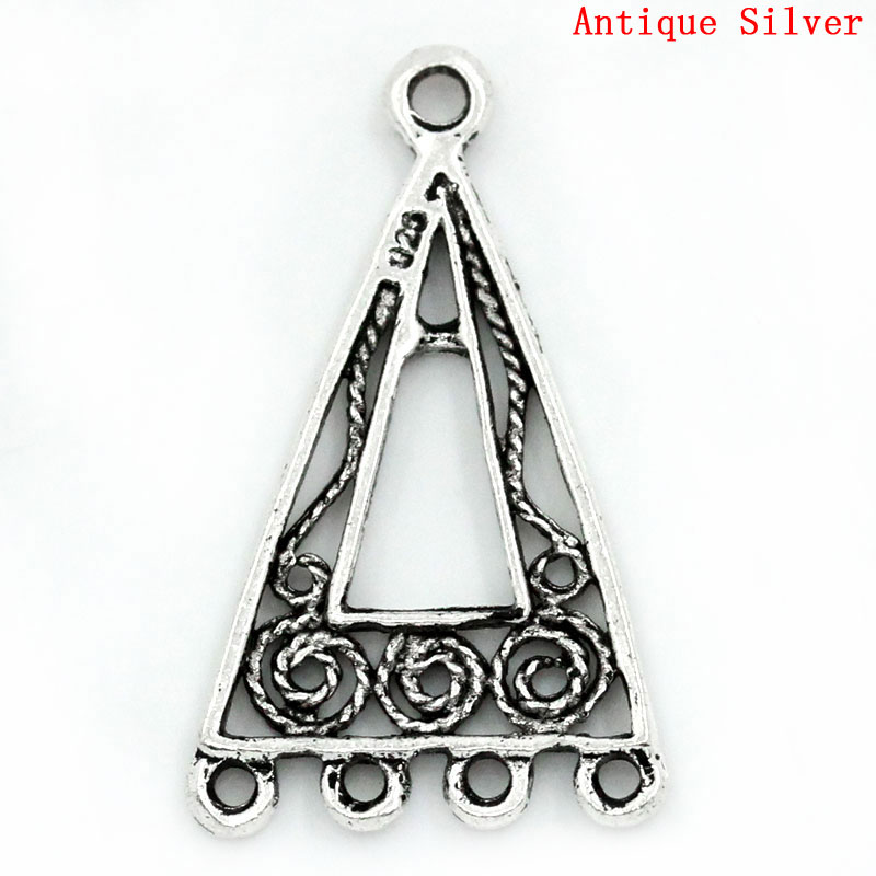 DoreenBeads Zinc Alloy Connectors Findings Triangle Antique Silver Flower Hollow Pattern Color 25mm X 15mm ,6 Pieces