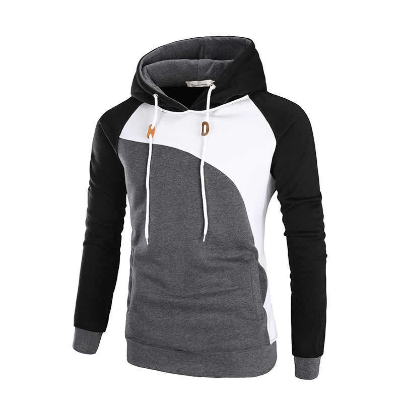 Mode männer Casual Patchwork Mit Kapuze Sweatshirt Frühling Herbst Lange Ärmel Hoodie Herren Streetwear Marke Männlichen Sportswear Mantel