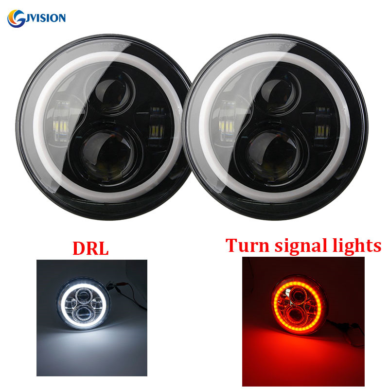7'' LED Headlights Bulb with White Halo Angel eyes Ring DRL & Red Turn signal lights for Jeep Wrangler JK Lada 4x4 Urban Niva