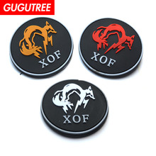 GUGUTREE embroidery HOOK&LOOP patch fox patches badges applique for clothing AD-273