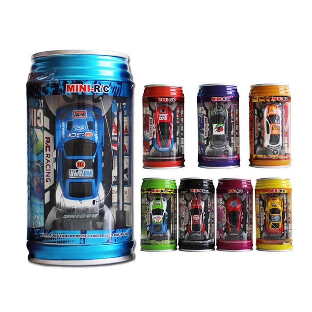 7 Colors Coke Can RC Car Radio Remote Control Car Micro Racing Car Toy 4pcs Road Blocks Kid's Toys Gifts