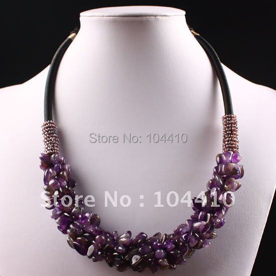 "Mixed ORder! Charms Amethyst Crystal Quartz  Chips Beads Adjustable Pendant Necklaces 16"" - 19"" Wholesale"