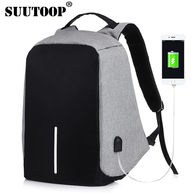 2ded6f63c76b bobby backpack Anti Theft Backpack Kid 2018 Men Women USB Black 15inch  Laptop Fashion Travel School